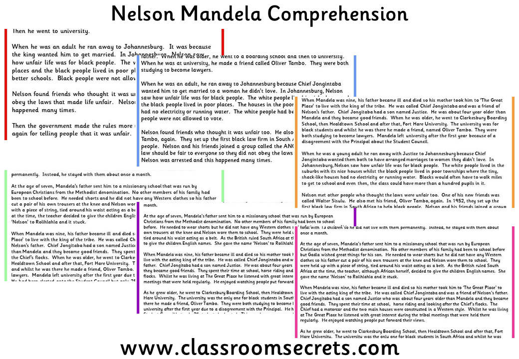 Nelson Mandela Comprehension. Differentiated six ways. | Awesome ...