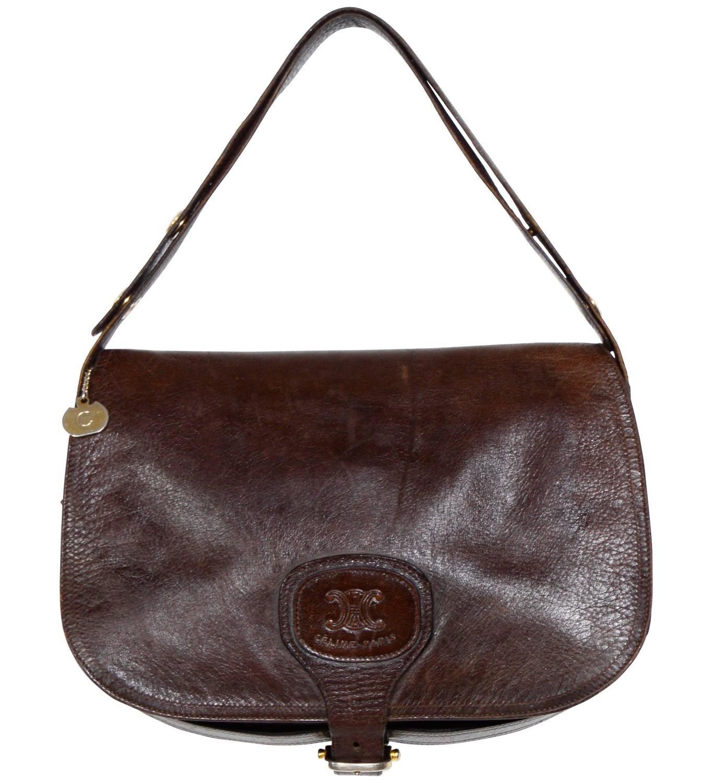 1stdibs Chocolate Leather Celine Shoulder Bag 1970s PIueyg