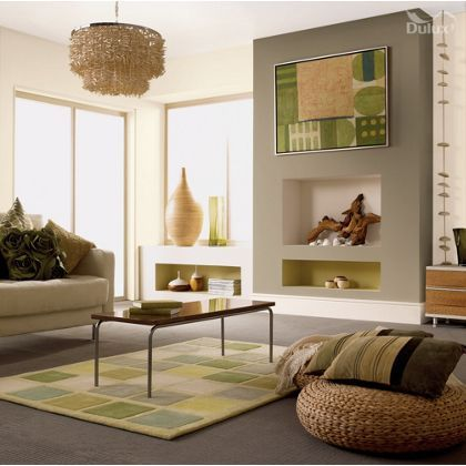 Dulux once overtly olive matt paint 2 5l dulux paint for Living room ideas homebase
