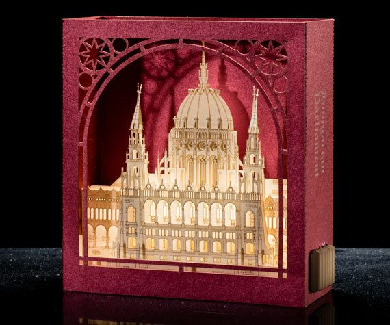 Pop Up 3d Card Orsz Gh Z Budapest Hungarian Parliament Hungary Budapest Gifts Architecture Paper Scale Models Kirigami Miniature Paper