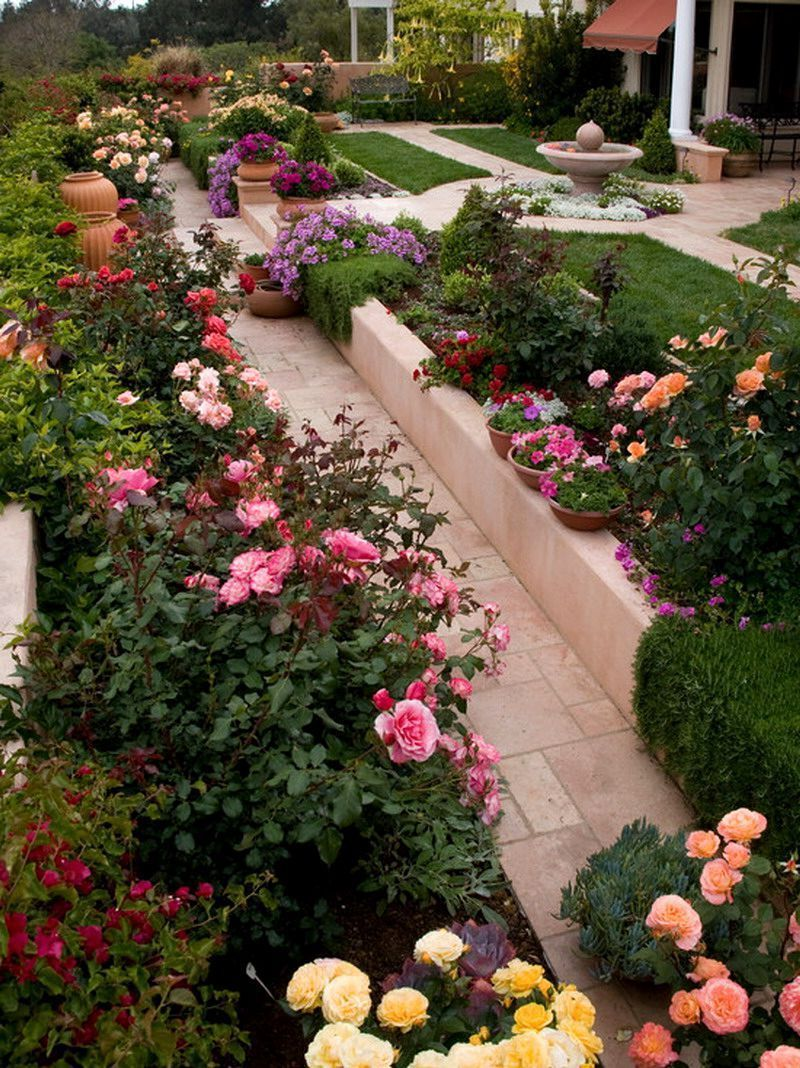 Rose Garden Designs For Small Yard Small Flower Gardens Rose Garden Design Rose Garden Landscape