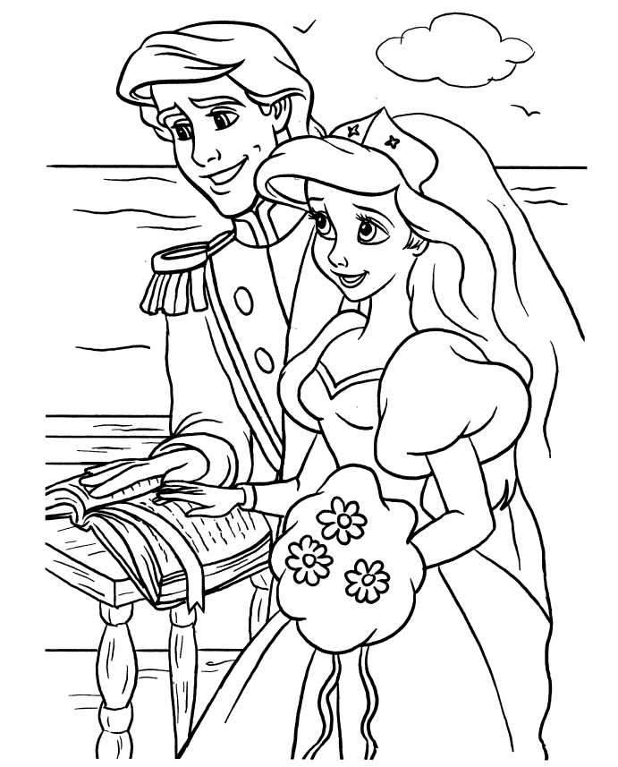 little mermaid coloring pages wedding - VoteForVerde.com ...