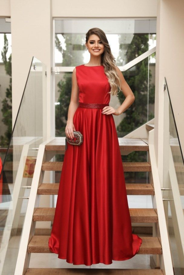 A-Line Bateau Sweep Train Red Satin Prom Dress with Sequined Belt 92dd029ac28b