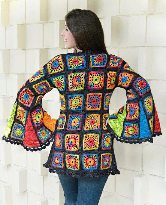 Häkeln Hippie Jacke Granny Square Crochet Häkelnstricken Pinterest