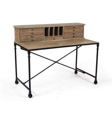 Rustic Industrial Desk In 2020 Rustic Desk Vintage Industrial Furniture Wood And Metal Desk