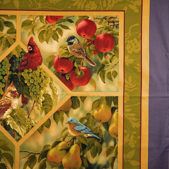 FABRIC PANEL Wild Bird Quilt Top or Wall Hanging Cotton   BIRDS ...