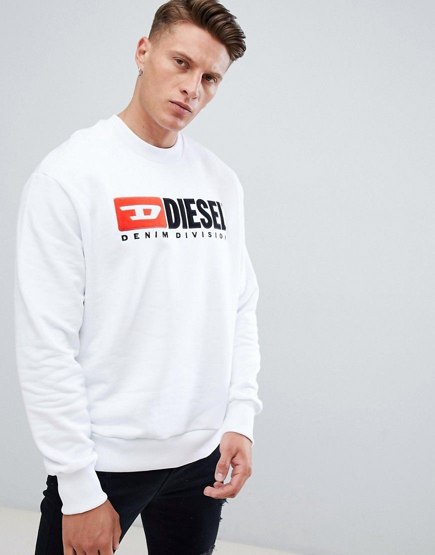 43c30fee3 DIESEL S-CREW-DIVISION INDUSTRY LOGO SWEATSHIRT WHITE - WHITE.  diesel   cloth