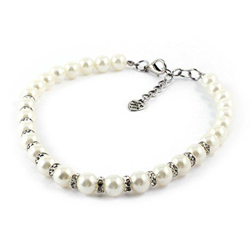 Uxcell Faux Pearl Ornament Rhinestone Pet Poodle Collar Necklace Large White *** Click image to review more details.