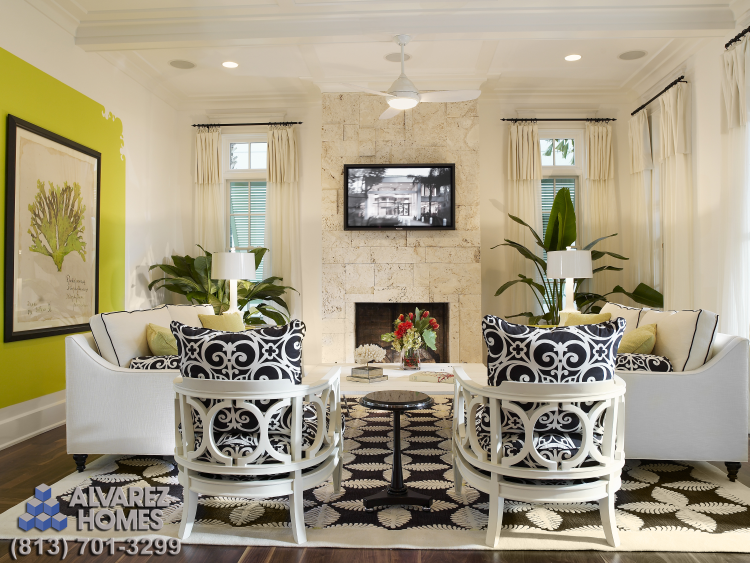 Tampa bay luxury homes builder alvarez homes designed and built this family room in the amber for Affordable interior design tampa