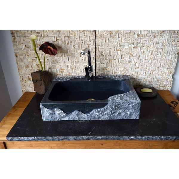 Awesome Jaki Artistic Black Rough Edged Granite Rectangular Sink Home Interior And Landscaping Eliaenasavecom