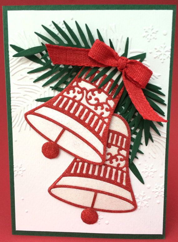glittered christmas bells 3d holiday card 3d card unique christmas card christmas