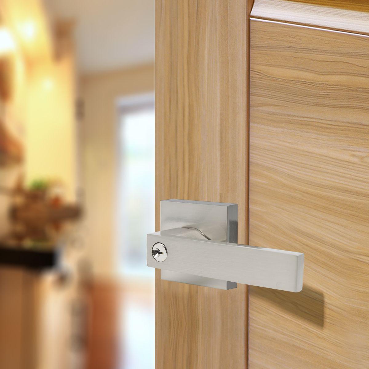 Satin Nickel Dummy Handleset For Front Door Handicap Friendly Entrance Door