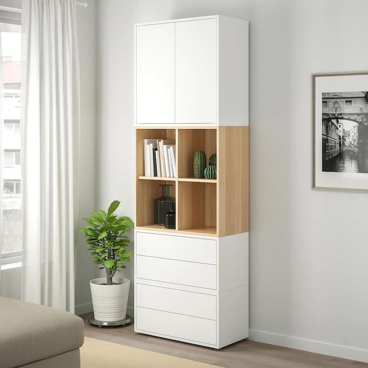 Eket Combinaison Rangement Avec Pieds Blanc Effet Chene Blanchi Ikea Meuble Rangement Salon Rangement Ouvert Chambre Meuble Rangement