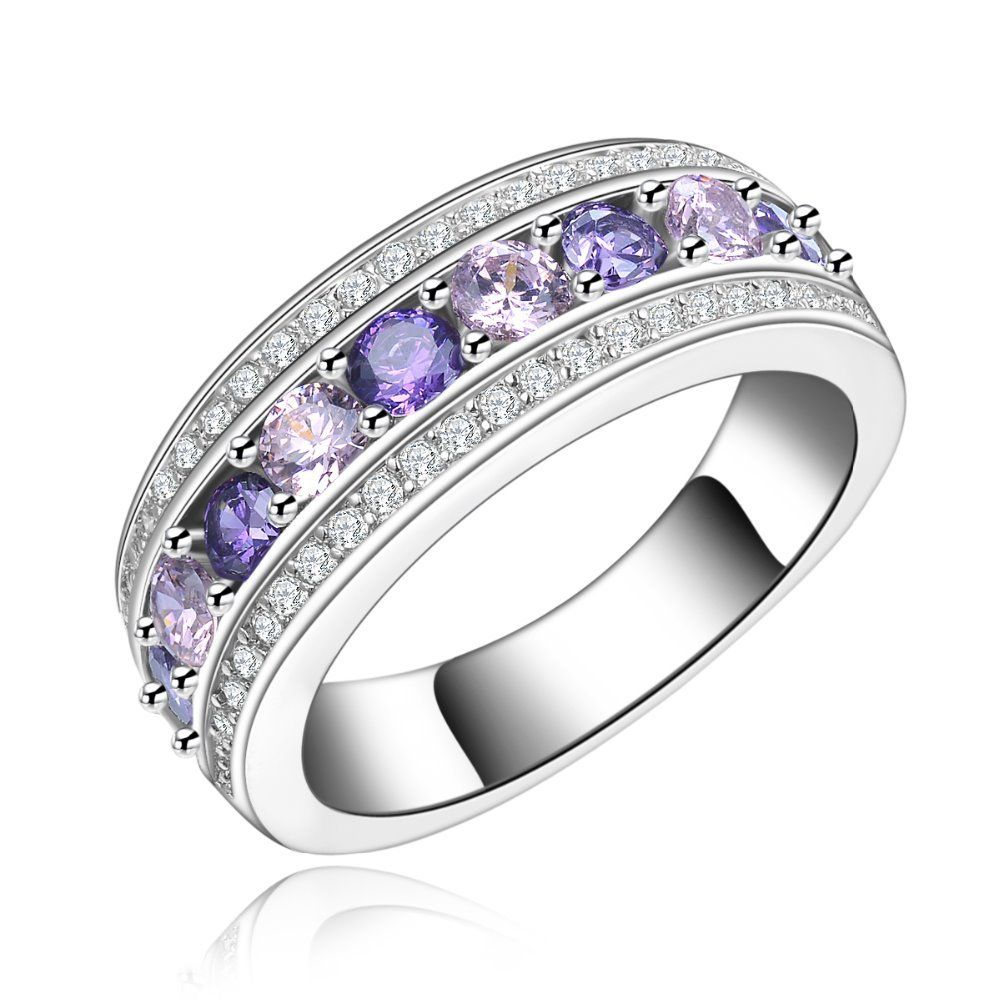 white gold color cocktail purple rings wedding jewelry for women