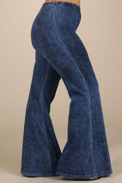 812fced3fd96b Mineral Washed Bell Bottom Pants with Elastic Waist-Plus Size