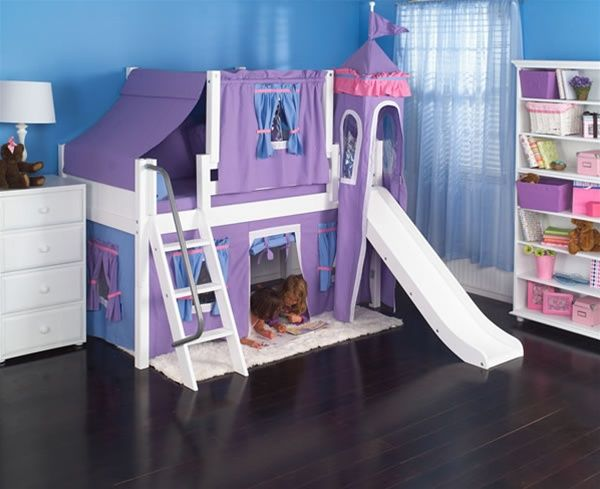 Maxtrix Princess Castle Bed W Angled Ladder And Slide Purple Light Blue Twin Size Girls Bedroom Furniture Bed With Slide Low Loft Beds