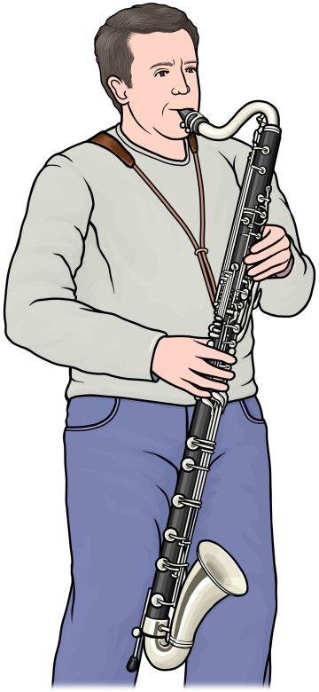 シングルリードの管楽器バスクラリネットを演奏している人 Bass
