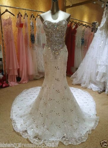 New Sweetheart Luxury Beading Crystals Mermaid Lace Wedding Dresses Bridal Gowns