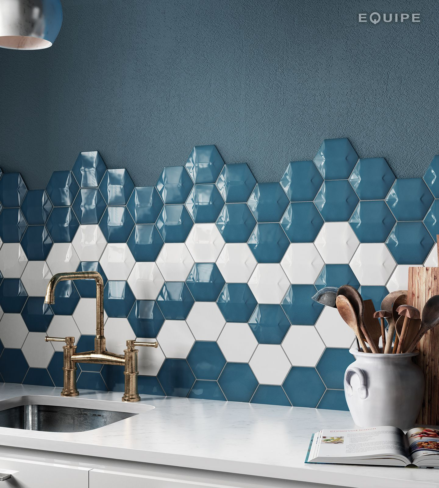 Magical 3 Star Electric Blue, White / Scale Hexagon Electric Blue ...