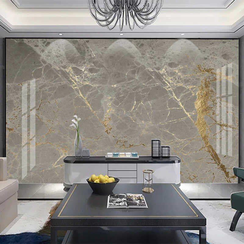 Custom 3d Wallpaper Modern Golden Gray Marble Mural Living Room Tv Sofa Luxury Home Decor Wall Painting Papel De Parede Frescoes Wallpapers Aliexpress Gold Marble Wallpaper Marble Wallpaper Wall Wallpaper