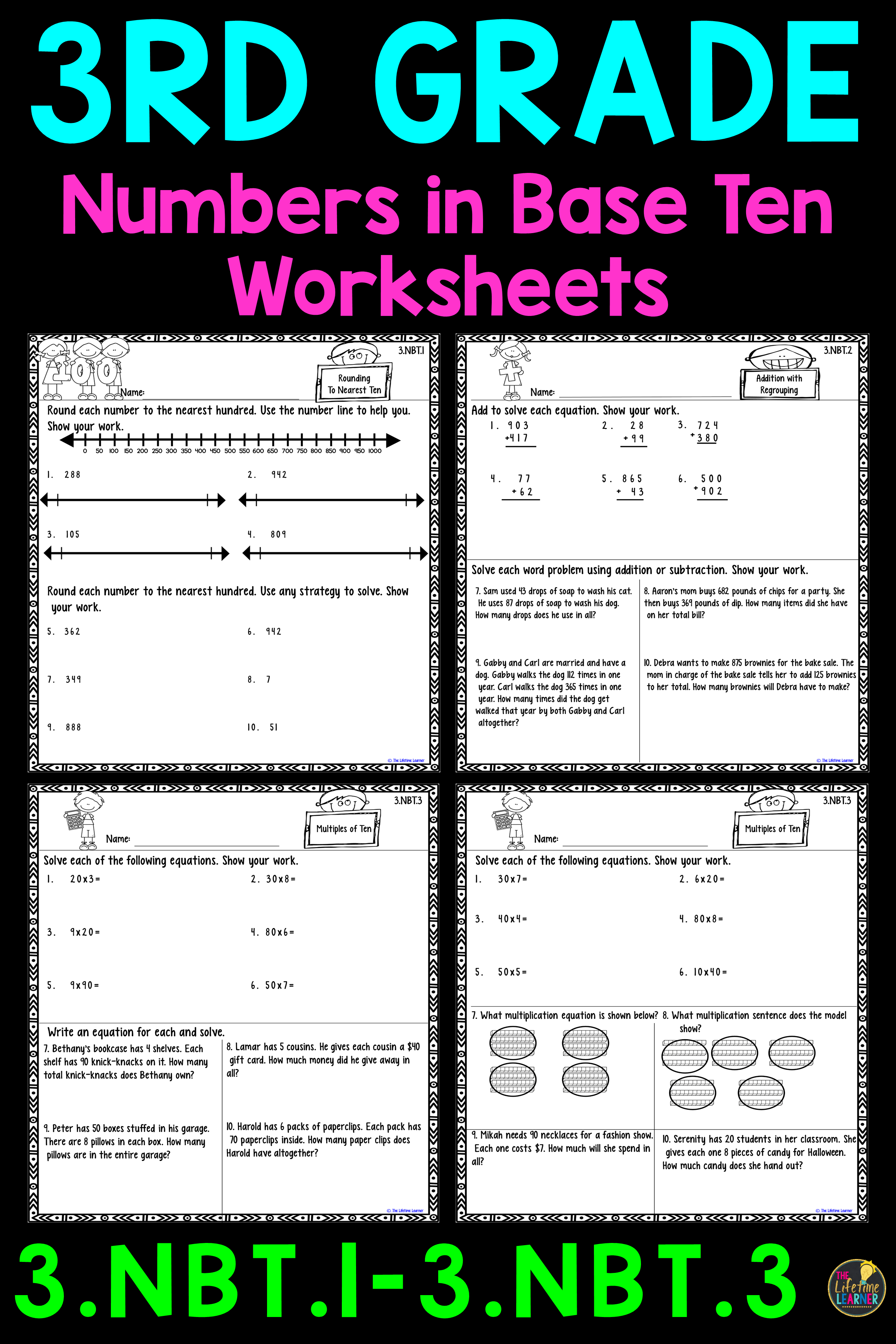 These third grade math worksheets are perfect for 3rd graders learning  rounding [ 3684 x 2456 Pixel ]