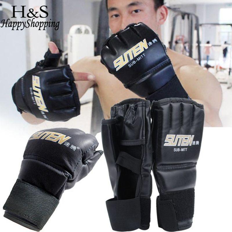 New Leather Half Finger Fight MMA Boxing Gloves Mitts Sanda Karate Sandbag  Taekwondo Protector Mma Muay Thai Kick Boxing Gloves  jewelry 49b29d2832bd