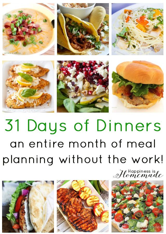 """Get organized with this """"31 Days of Dinners"""" menu guide"""