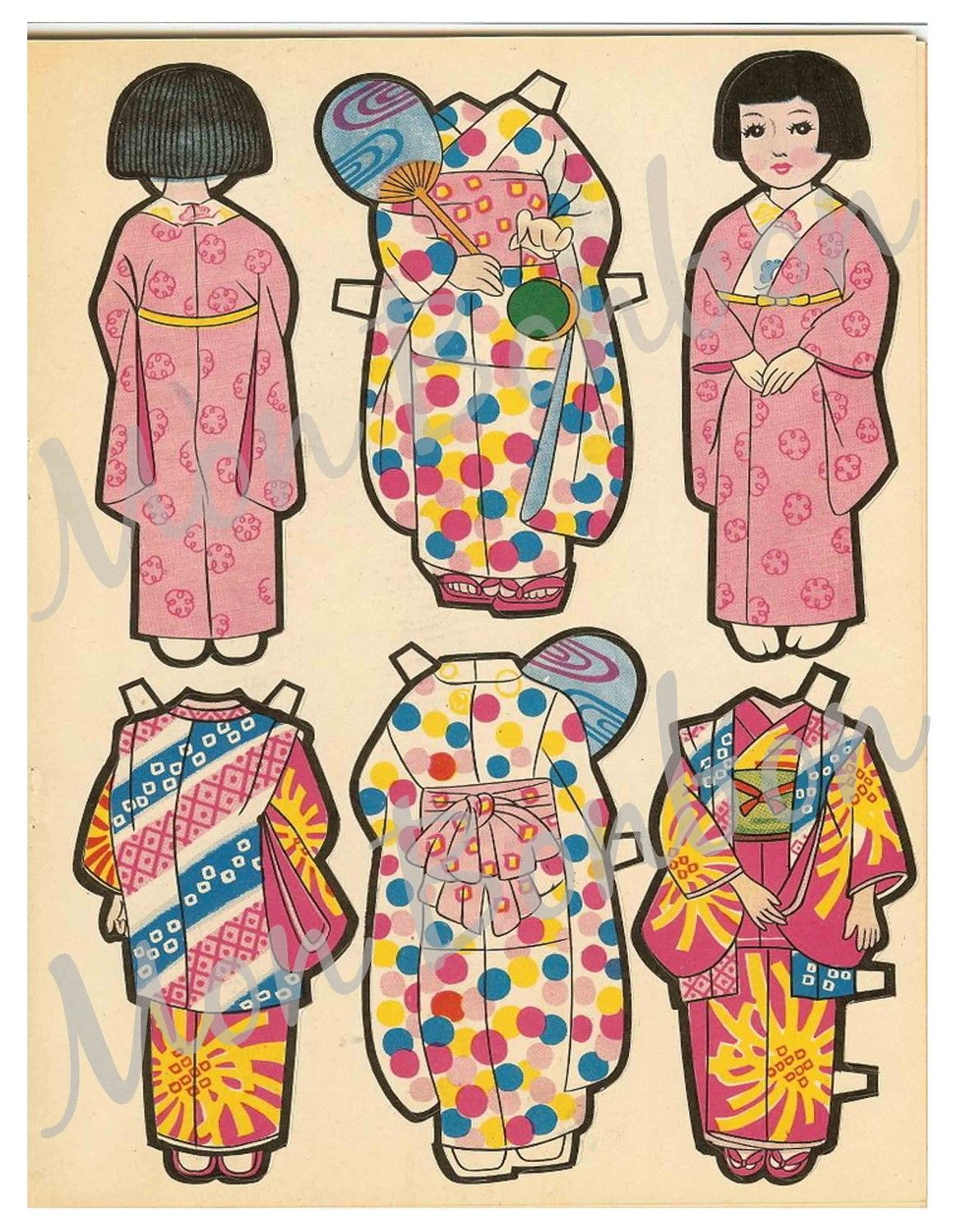 Vintage Japanese Paper Doll Collage Sheets perfect for ...