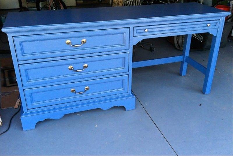 Craigslist blue desk with brass furniture makeover redo
