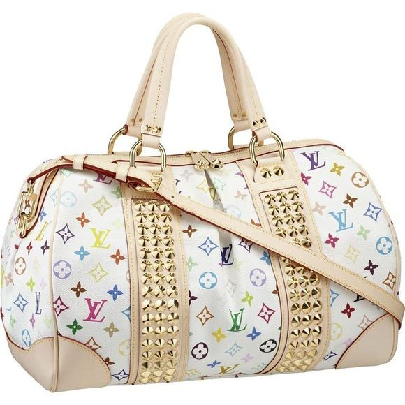 bf85cb401783 Louis Vuitton Studded Multicolor Bag This is an authentic LOUIS VUITTON  Multicolor Courtney GM with a Strap in White. This stylish tote is crafted  of ...