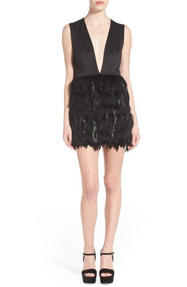 Missguided Plunging Feather Dress available at #Nordstrom