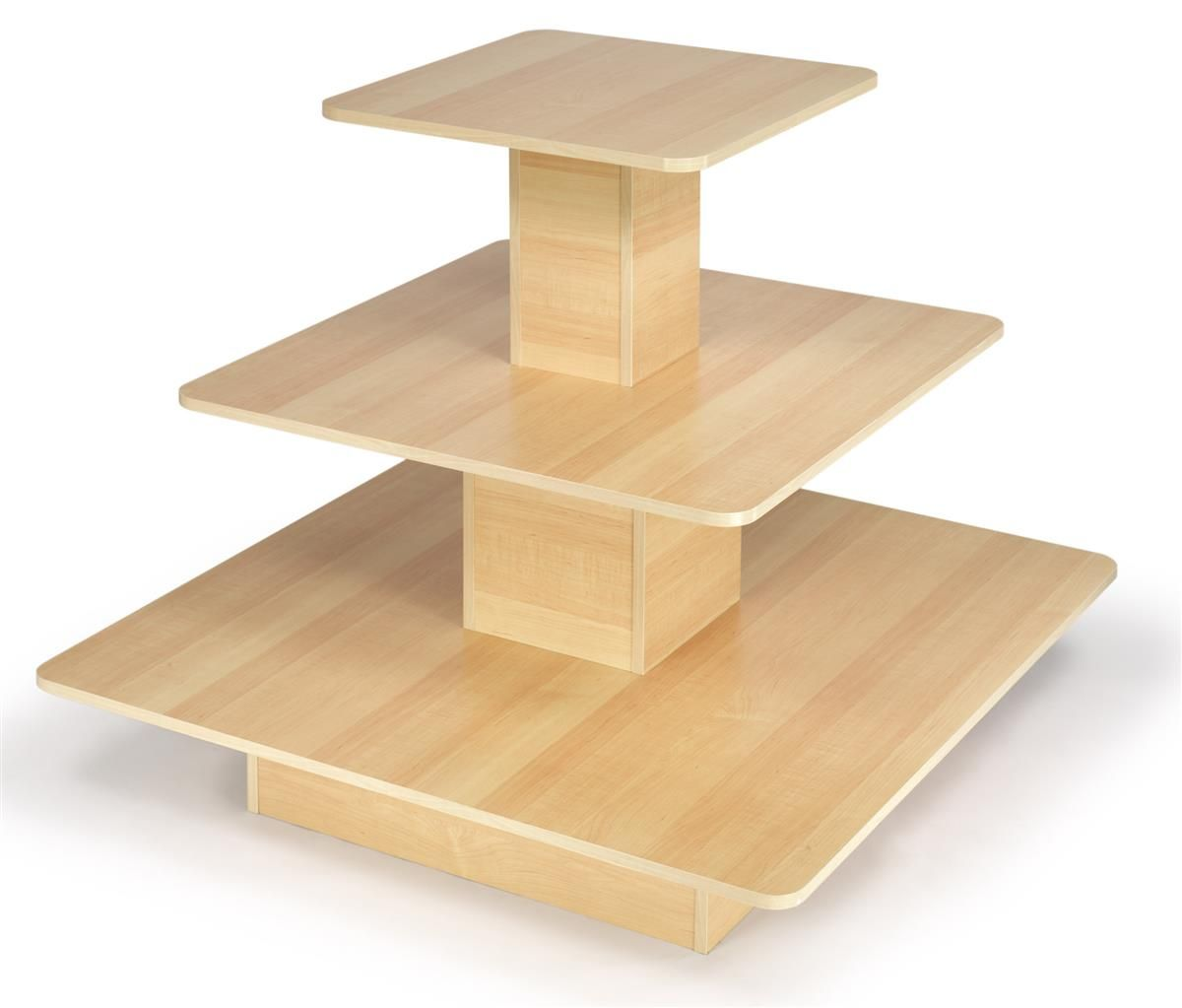 48 X 48 Tiered Display Table W 3 Shelves Square Maple Tiered Table Display Display Merchandising Displays