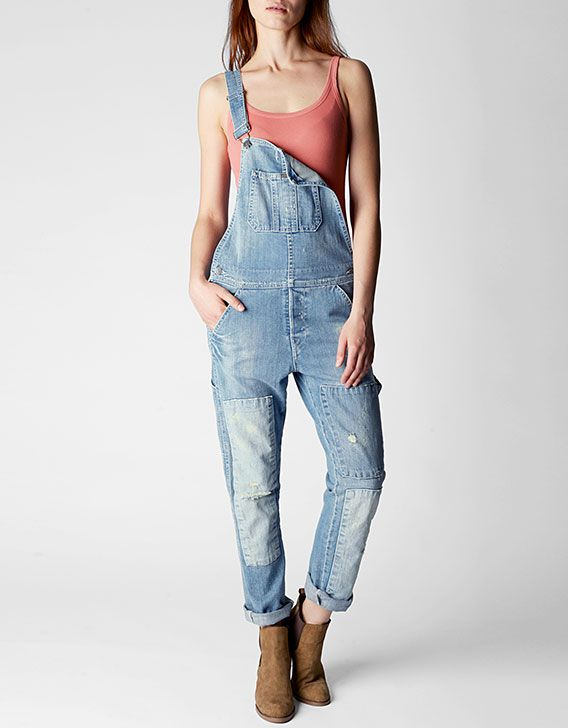 True Religion, Erin Rolled Crop Relaxed Denim Womens Overall, axud ...