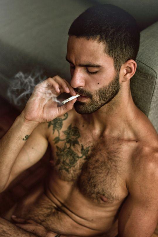 Hot Guy Smoking And Masturbating Furiously Before Cumming
