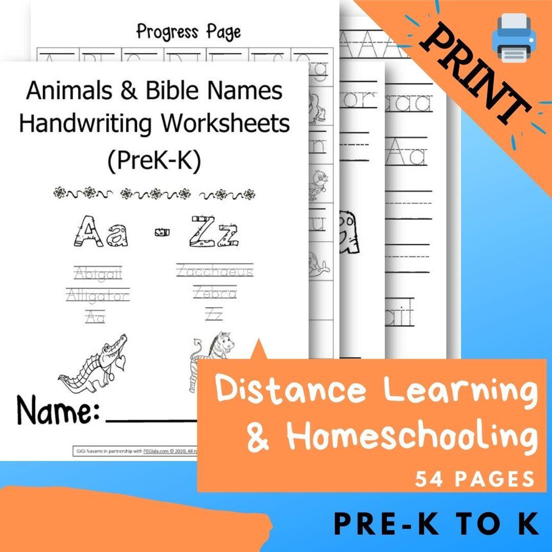 Print Animals Amp Bible Names Handwriting Worksheets Prek