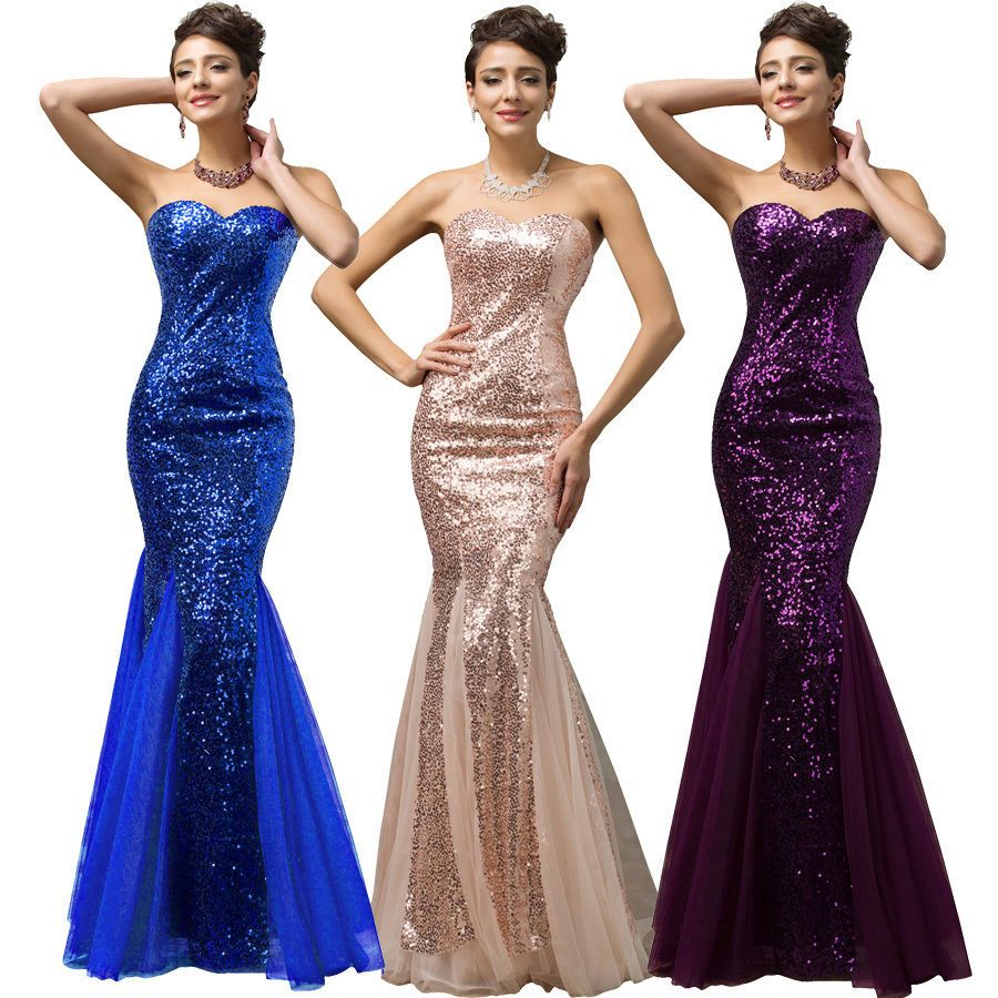 Long formal mermaid sequins wedding ball gown evening prom party