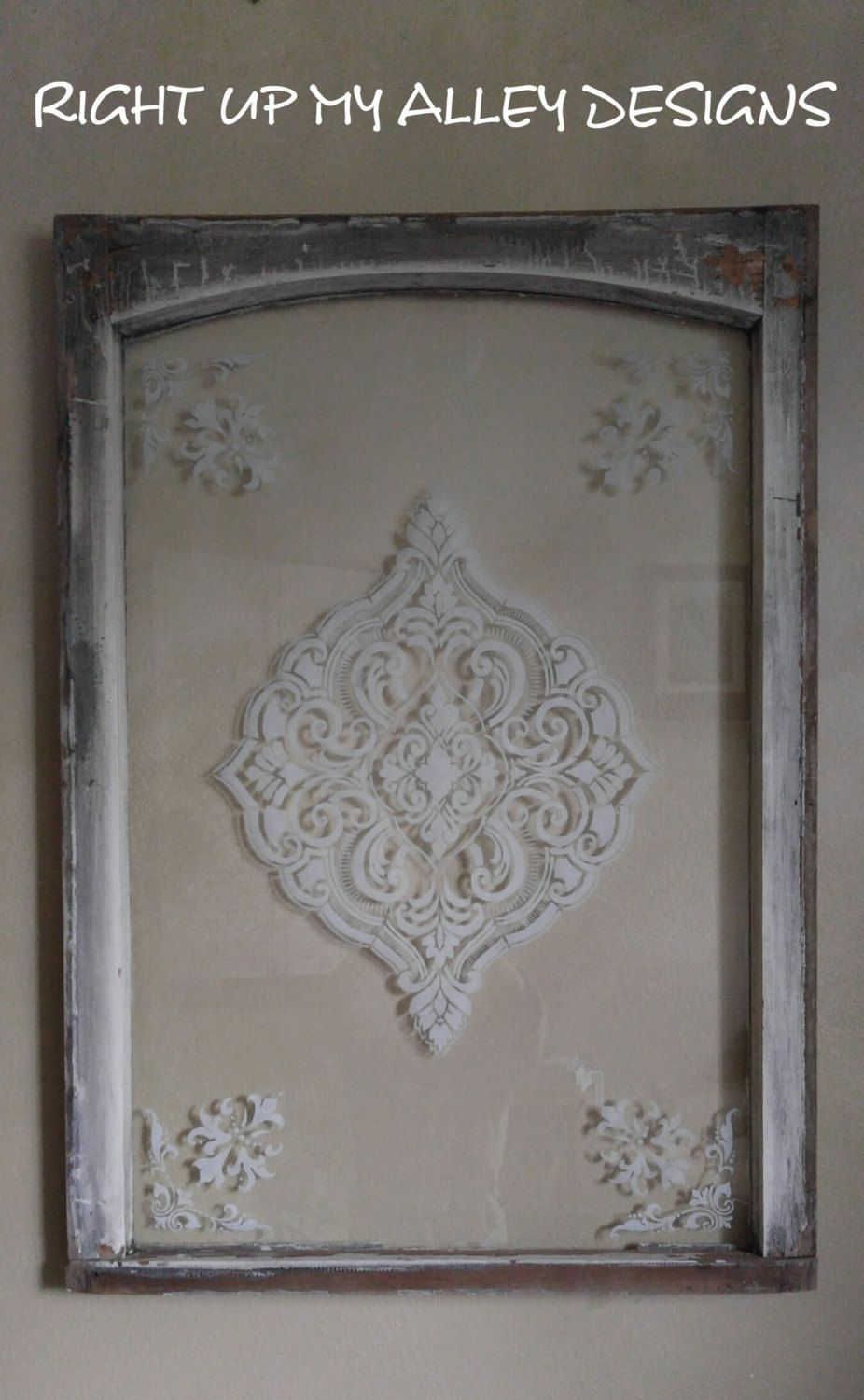 Old Painted Window Stenciled Window Etched Glass Window