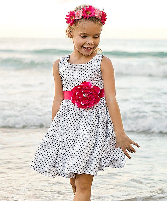 137649451ab22 Mia Belle Baby White & Black Polka Dot Flower Tiered Dress//   <Tiny ...