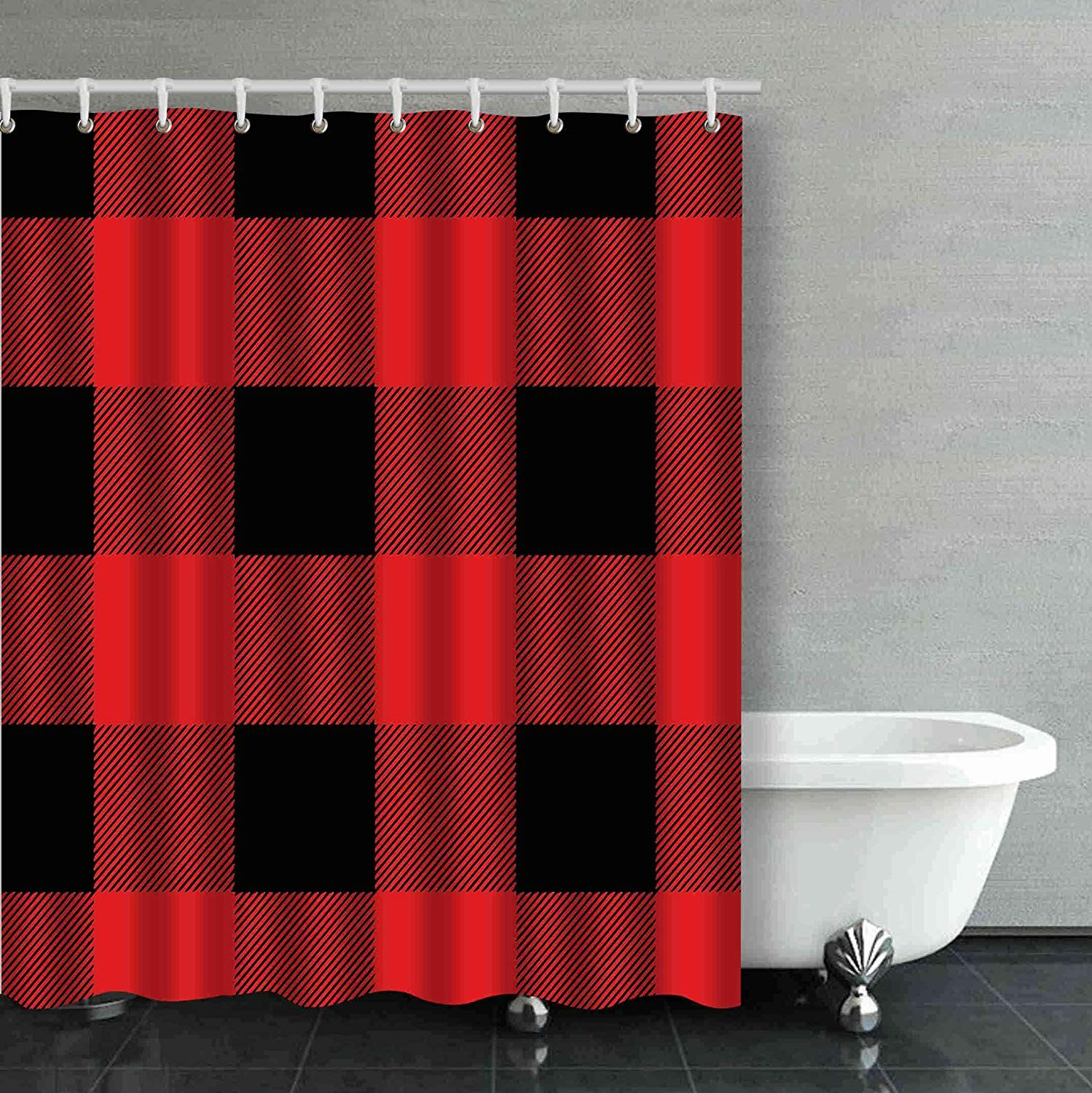 Bpbop Rustic Red And Black Buffalo Check Plaid Bathroom Shower Curtain 60x72 Inches Walmart Com In 2021 Bathroom Red Red Shower Curtains Bathroom Shower Curtains [ 1500 x 1499 Pixel ]
