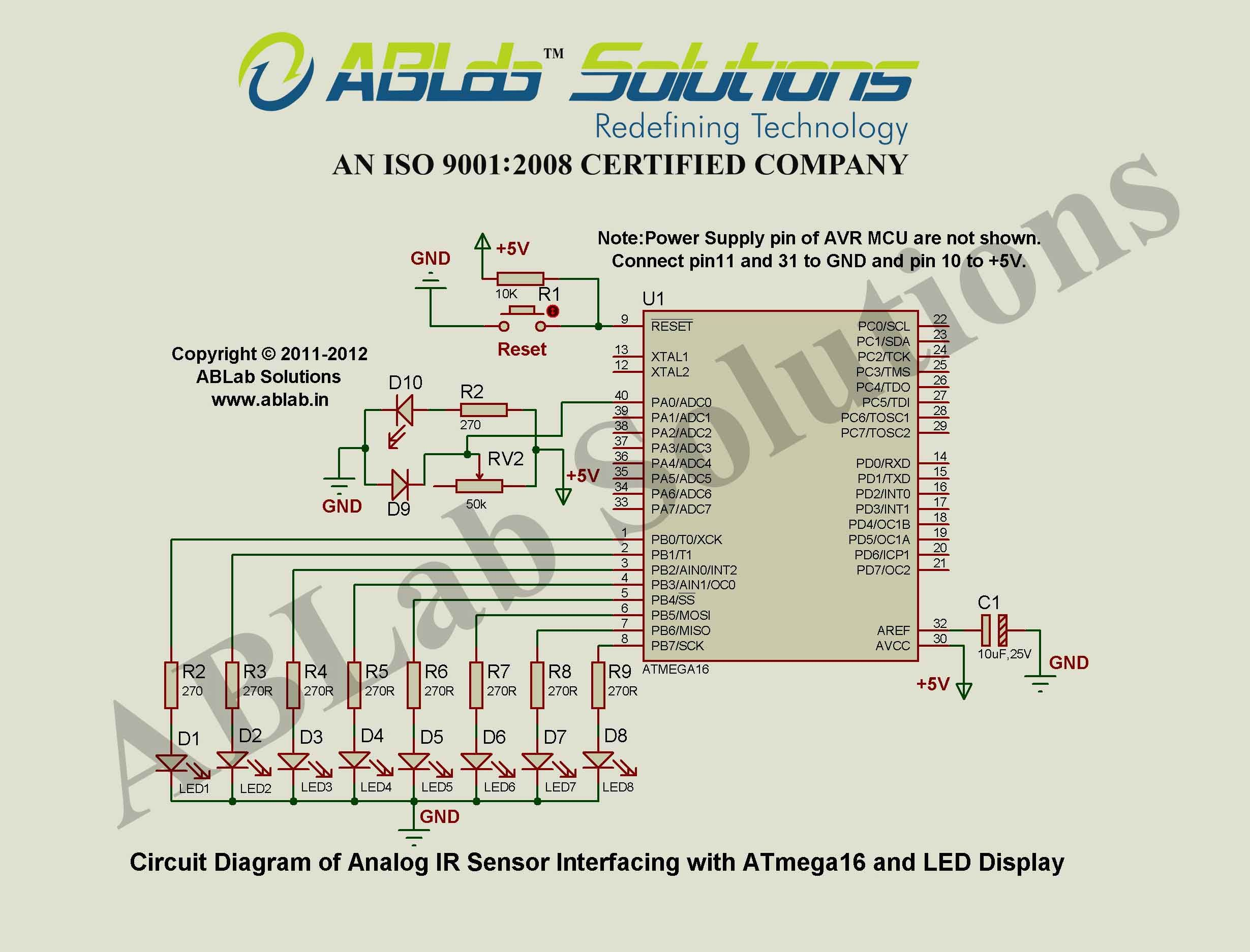 Analog ir sensor interfacing with avr atmega16 microcontroller and analog to digital converter of avr microcontroller with led display circuit diagram ablab solutions pooptronica Gallery