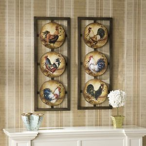 Rooster Wall Art 2 Panel Wall Decor Pictures Chickens Kitchen Ws9297