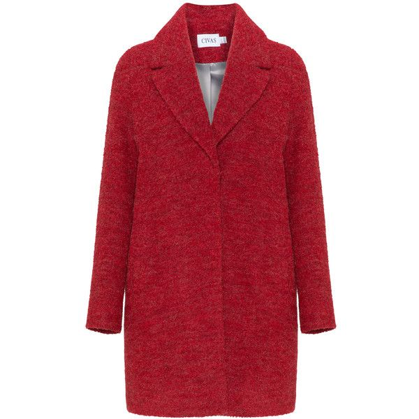 5ac2e7266ca Civas Red Plus Size Bouclé wool coat ( 285) ❤ liked on Polyvore featuring  outerwear