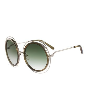 f9d60e5fa91c Carlina+Trimmed+Round+Sunglasses+by+Chloe