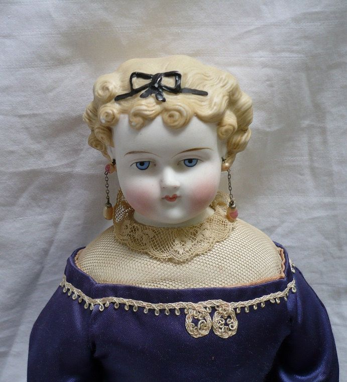 "Parian doll 16""  molded blond hair, blue eyes, made in 1870s by ConcealedTreasures on Etsy"