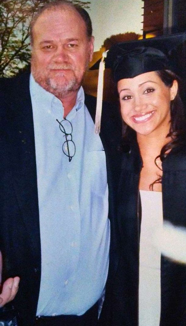 Meghan Markle with her father, Thomas at her college ...