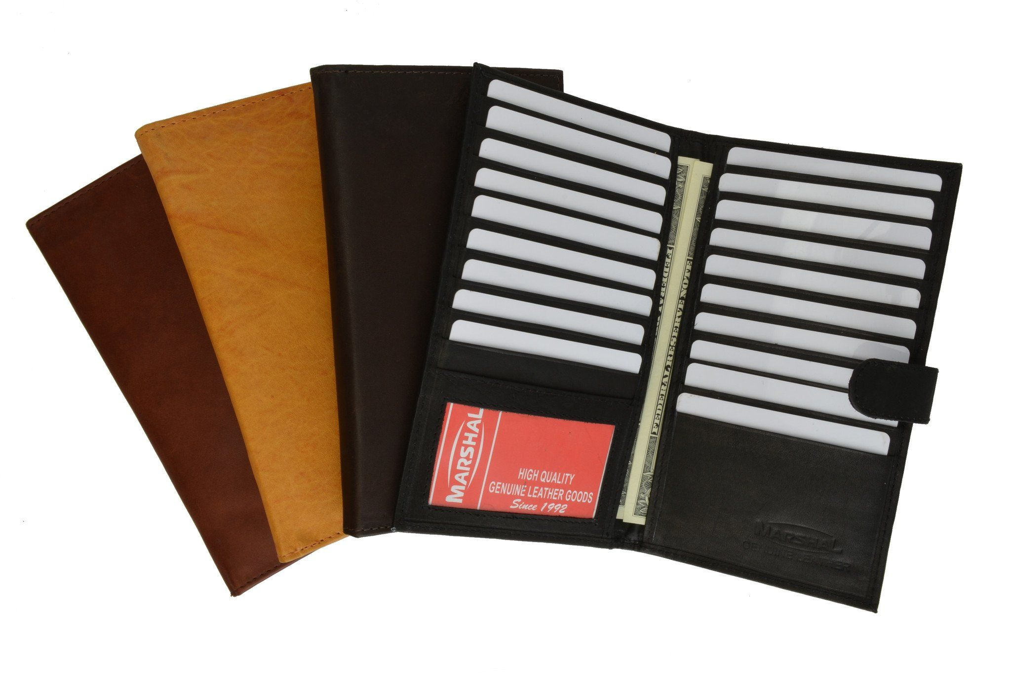 CHECKBOOK CREDIT CARD HOLDER BROWN GENUINE LEATHER NEW