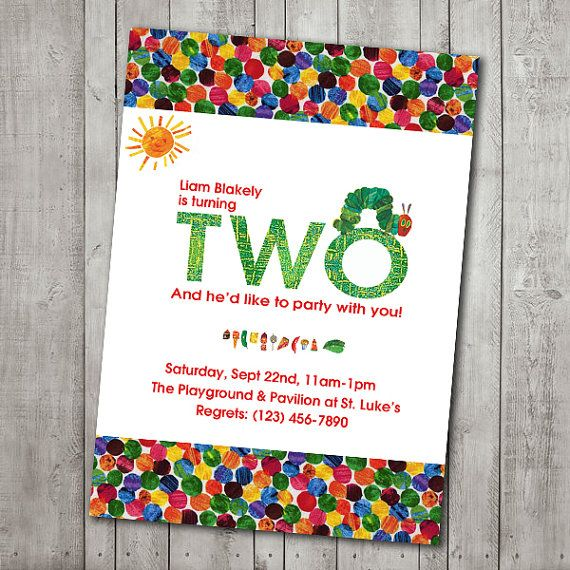 Very Hungry Caterpillar Birthday Party Invitations Set of 12