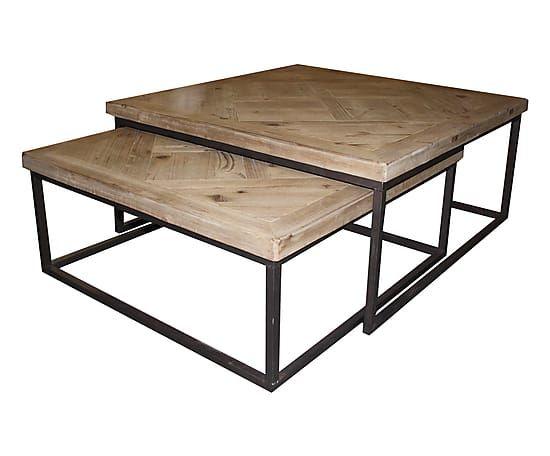 2 Tables Basses Gigognes Bois Et Metal Naturel Et Noir