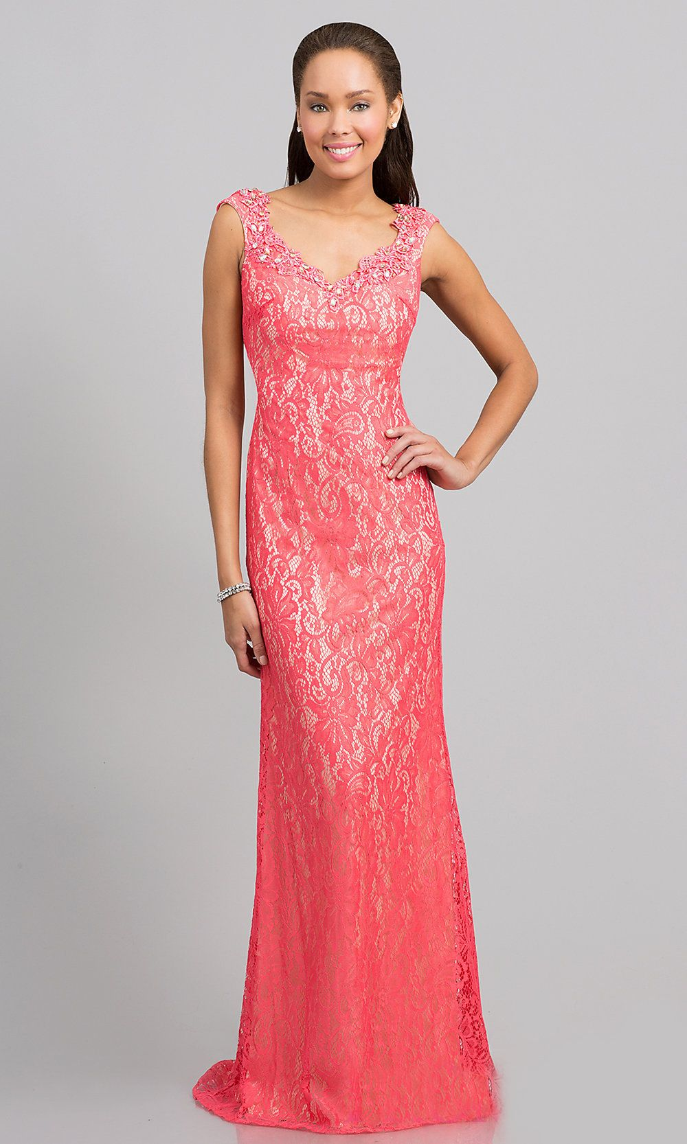 Elegant Floor Length Coral Lace Formal Gown Cap Sleeves V Neck ...