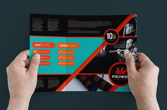 Trifold Gym Fitness Template Creativework  Brochure Design